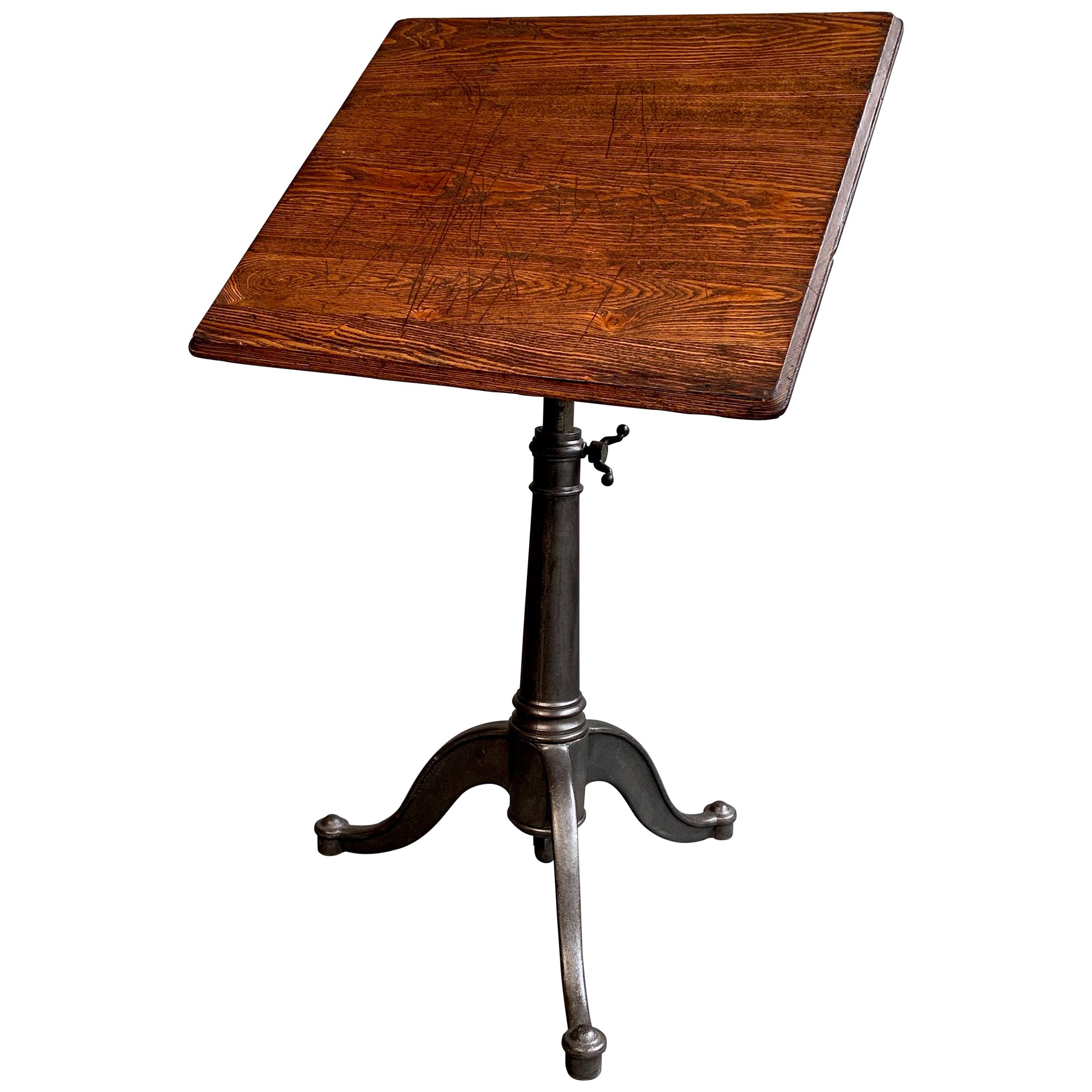 Industrial Antique Oak Artist Rendering Easel with Cast Iron Base