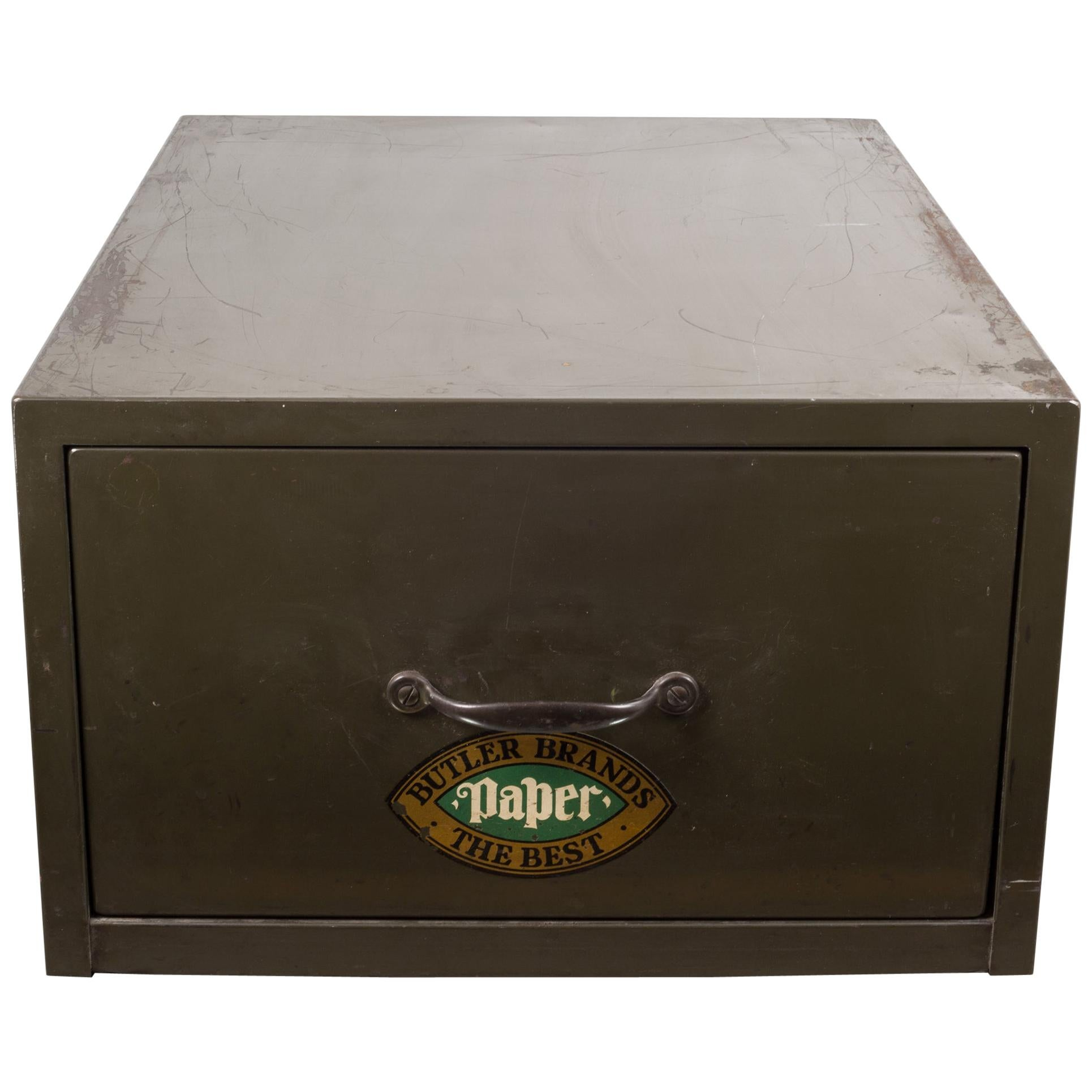 Industrial Army Green Factory Cabinet, circa 1940