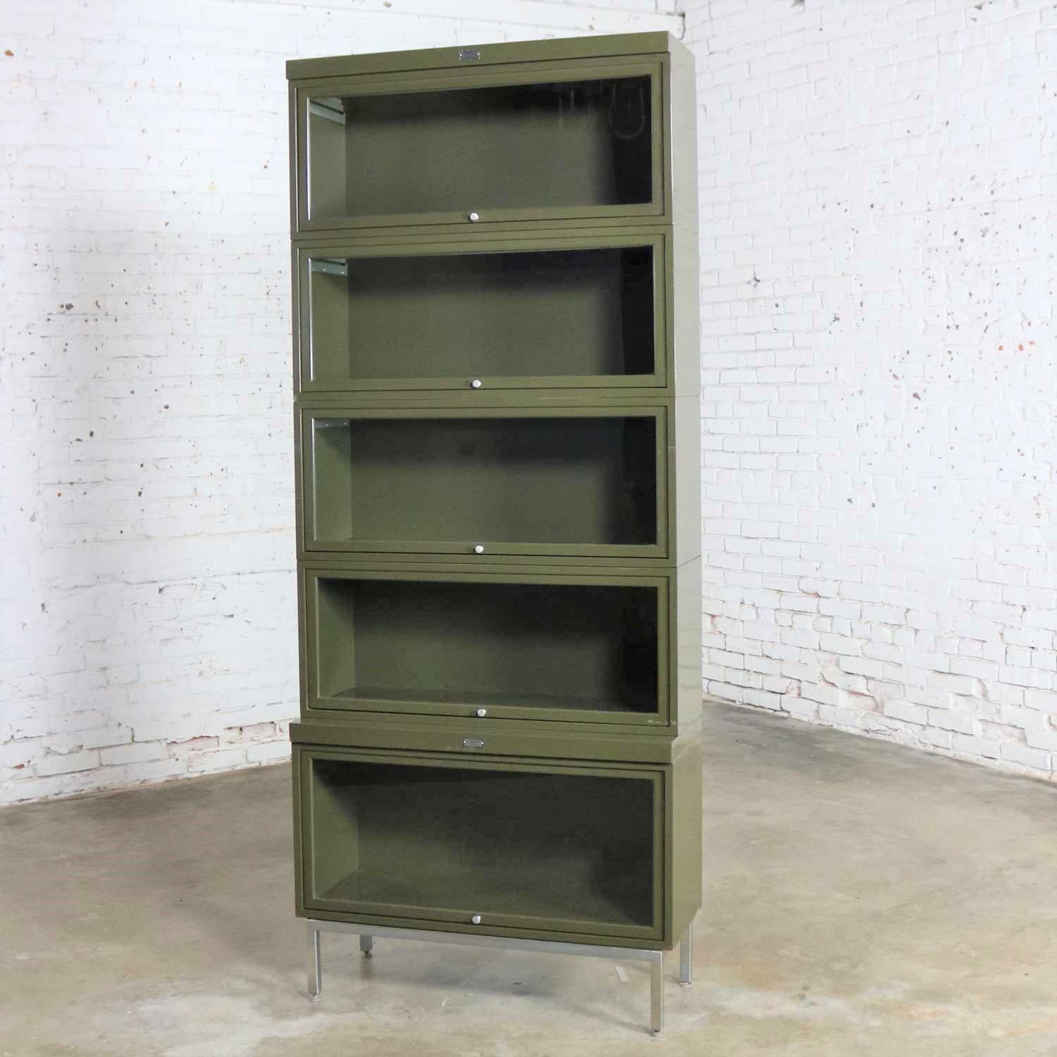 Industrial Army Green Metal Barrister Five Section Stacking Bookcase With Glass