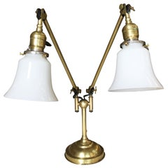 Industrial Articulating Brass Daul Desk Lamp with Bell Shades