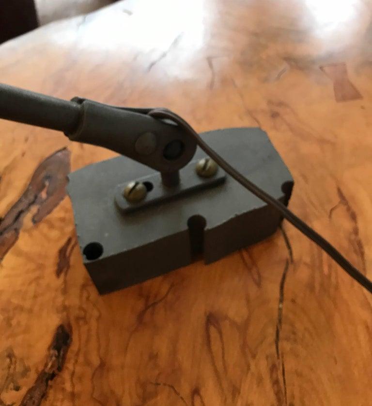 Industrial Articulating Cast Iron Task Desk Lamp For Sale 2
