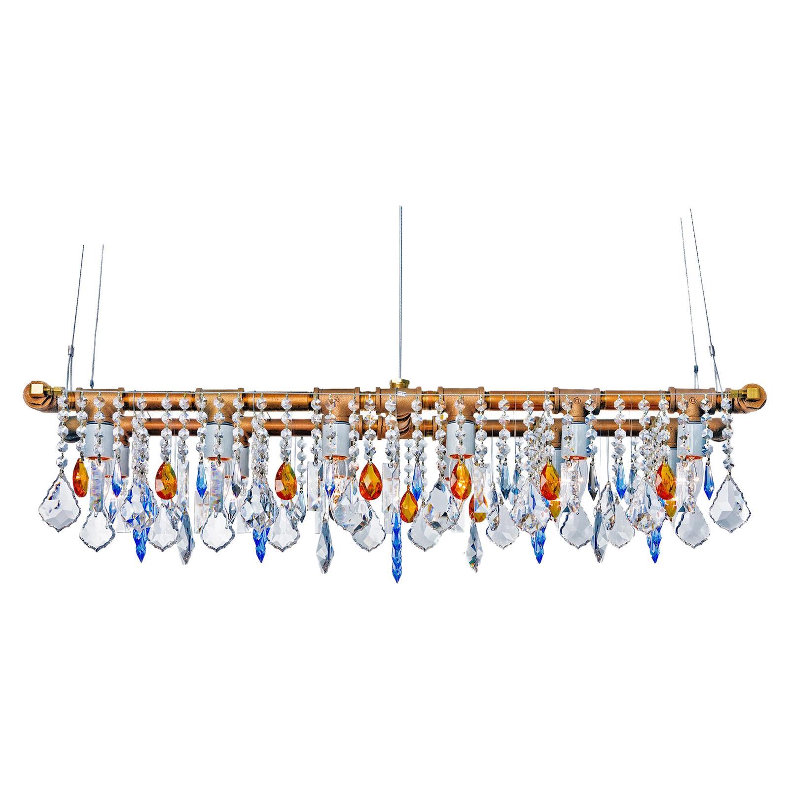 Industrial Banqueting Bronze Linear Suspension Chandelier