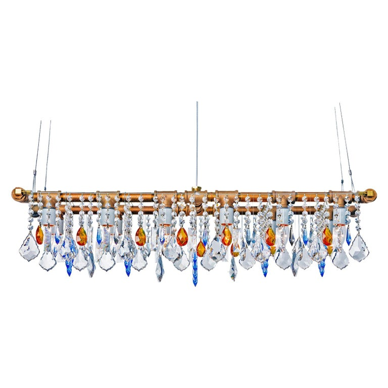 Industrial Banqueting Bronze Linear Suspension Chandelier For Sale