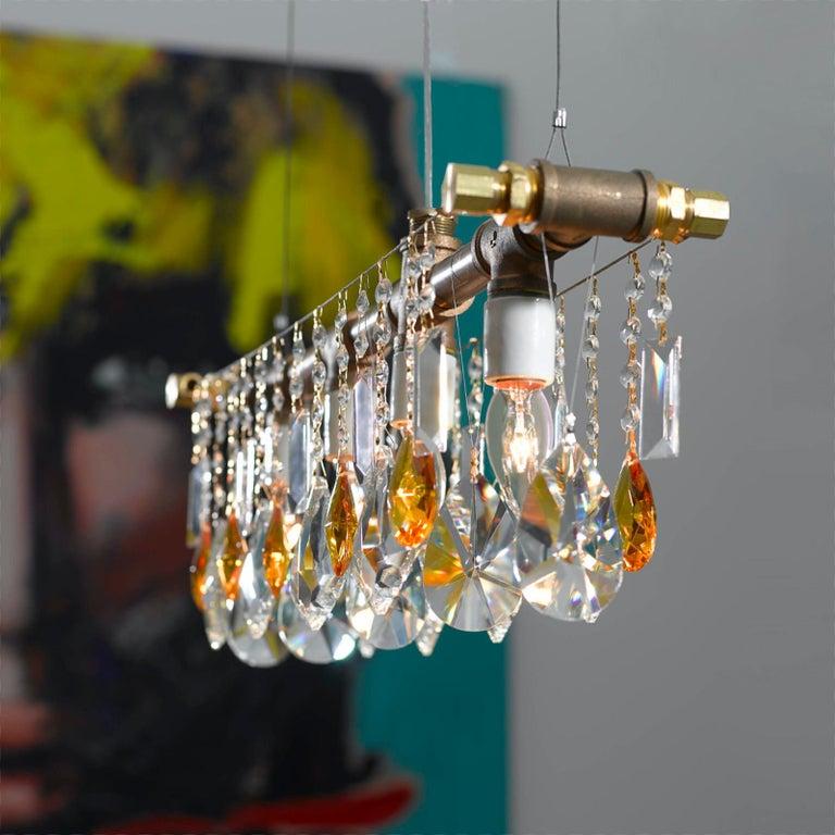American Industrial Bar Five-Light Bronze Chandelier Linear Suspension For Sale