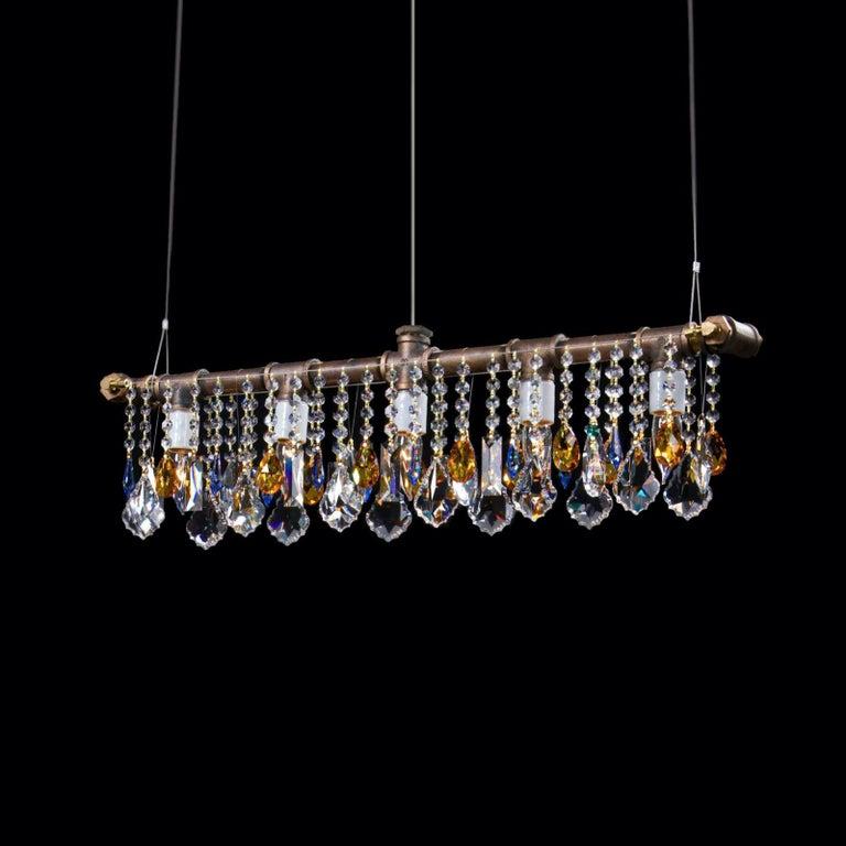 Contemporary Industrial Bar Five-Light Bronze Chandelier Linear Suspension For Sale