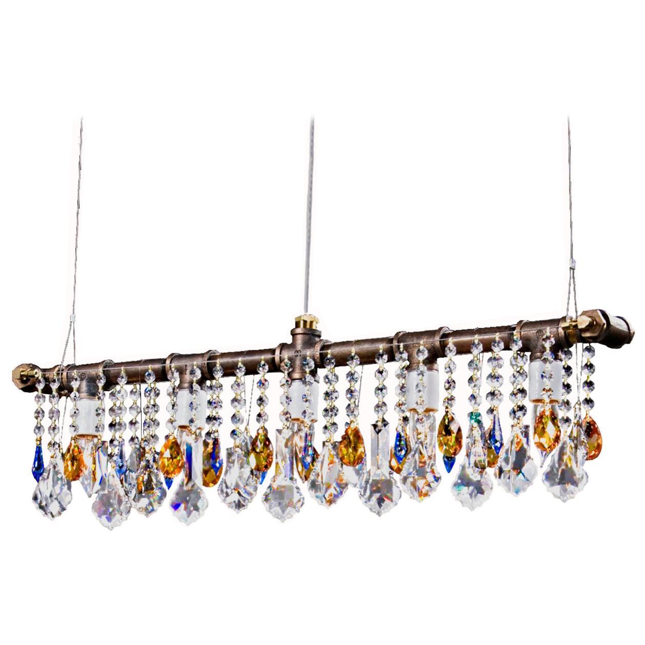 Industrial Bar Five-Light Bronze Chandelier Linear Suspension