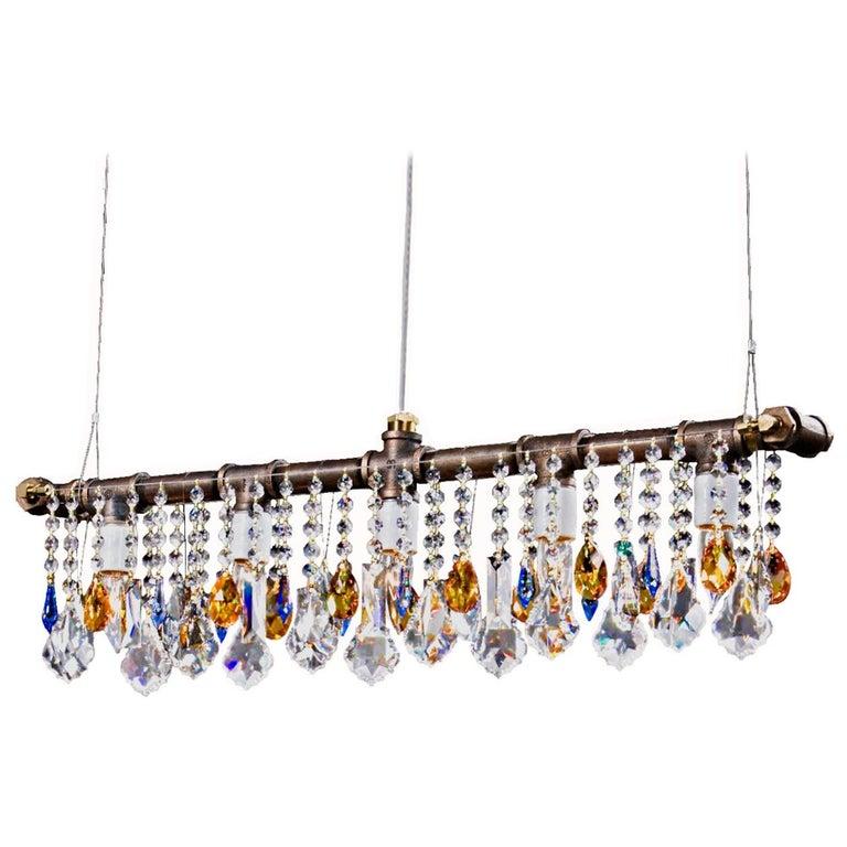 Industrial Bar Five-Light Bronze Chandelier Linear Suspension For Sale