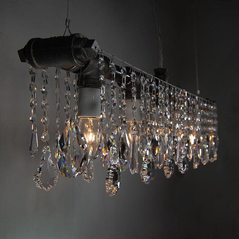 American Industrial Bar Five-Light Chandelier Linear Suspension For Sale