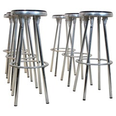 Industrial Bar Stools in Aluminum by Joan Casas I Ortinez for Indecasa, Spain