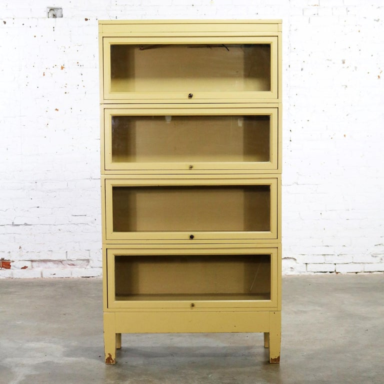 Industrial Barrister Stacking Bookcase Globe Wernicke Distressed Yellow Painted For Sale At 1stdibs