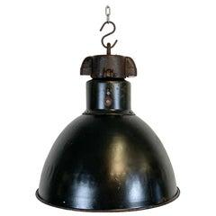 Industrial Bauhaus Black Enamel Pendant Light, 1930s