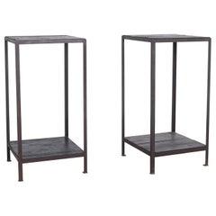 Industrial Belgian Pedestal Tables, a Pair