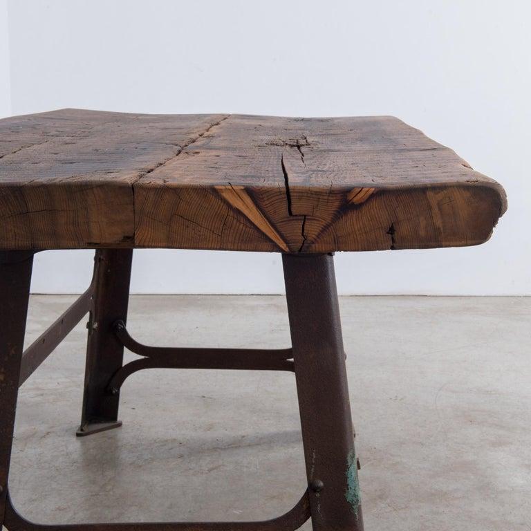 Industrial Belgian Table with Rustic Wooden Top 1