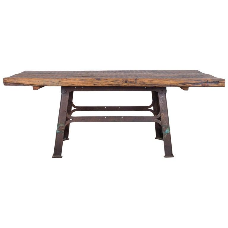 Industrial Belgian Table with Rustic Wooden Top