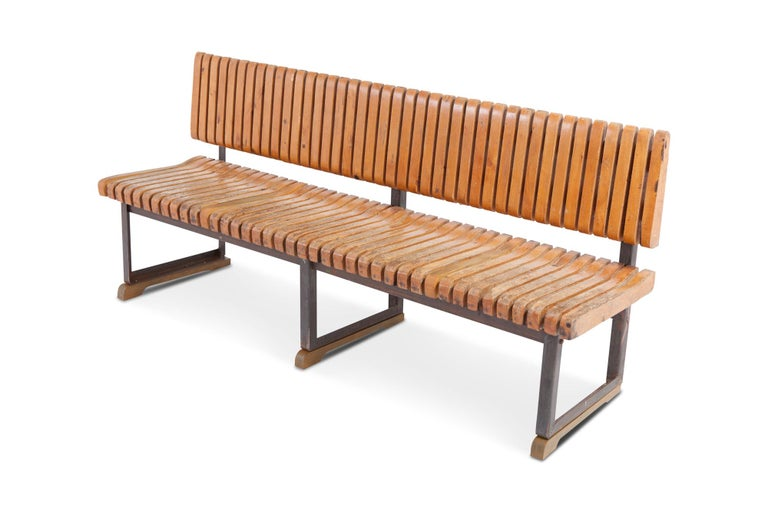 Mid-Century Modern Industrial Bench with Slatted Seat and Backrest For Sale
