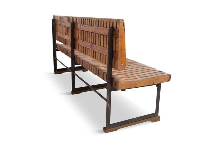 Dutch Industrial Bench with Slatted Seat and Backrest For Sale