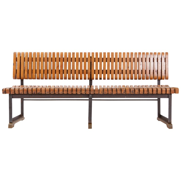Industrial Bench with Slatted Seat and Backrest For Sale