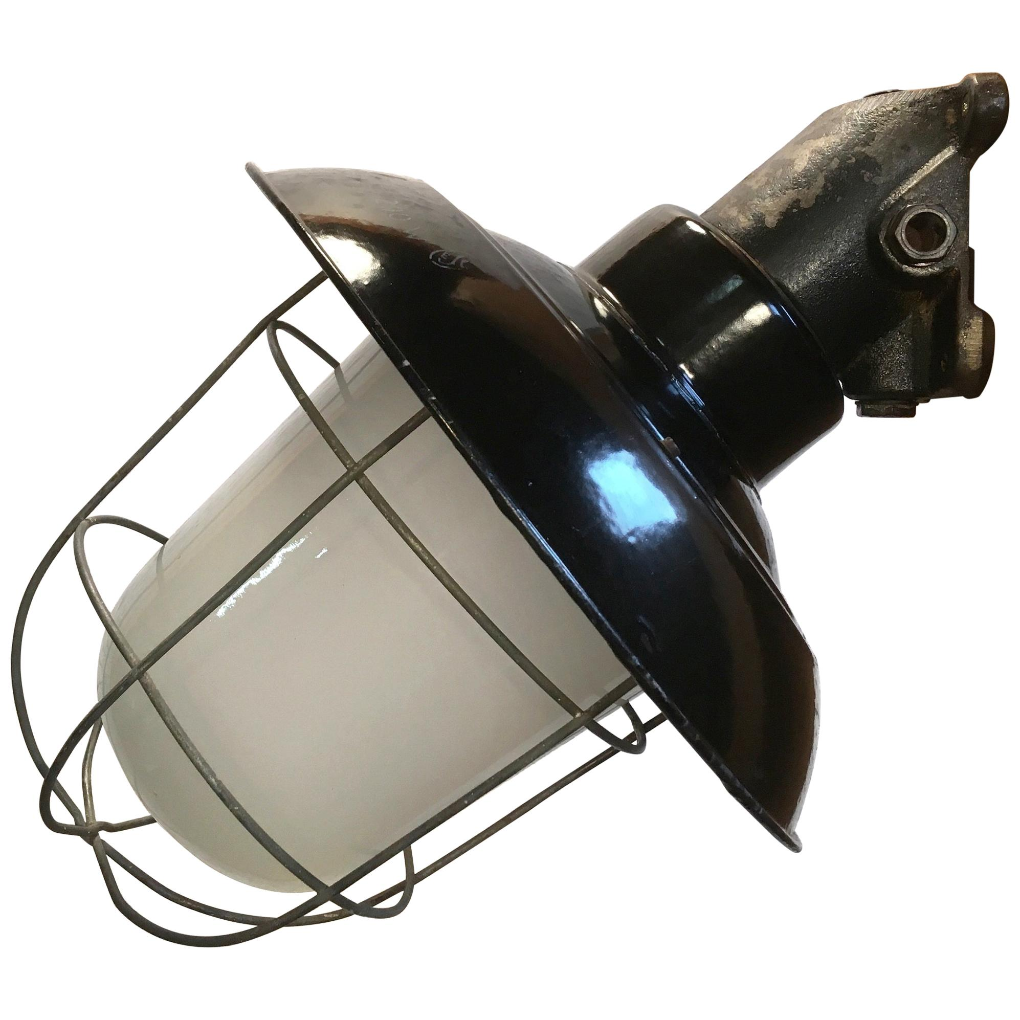 Industrial Black Enamel Cast Iron Wall Lamp, Frosted Glass