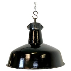 Industrial Black Enamel Factory Hanging Lamp, 1950s