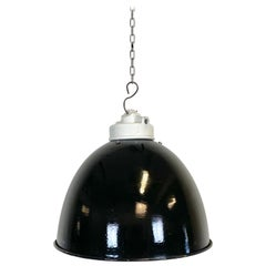 Industrial Black Enamel Lamp with Porcelain Top, 1950s