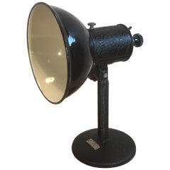 Industrial Black Enamel Table Lamp, 1950s