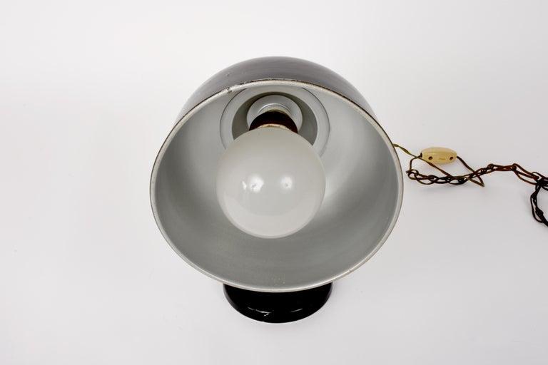 Industrial Black Enameled Metal Adjustable Italian Table Desk Lamp, 1940s For Sale 10