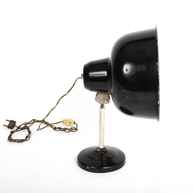 Industrial Black Enameled Metal Adjustable Italian Table Desk Lamp, 1940s For Sale 3