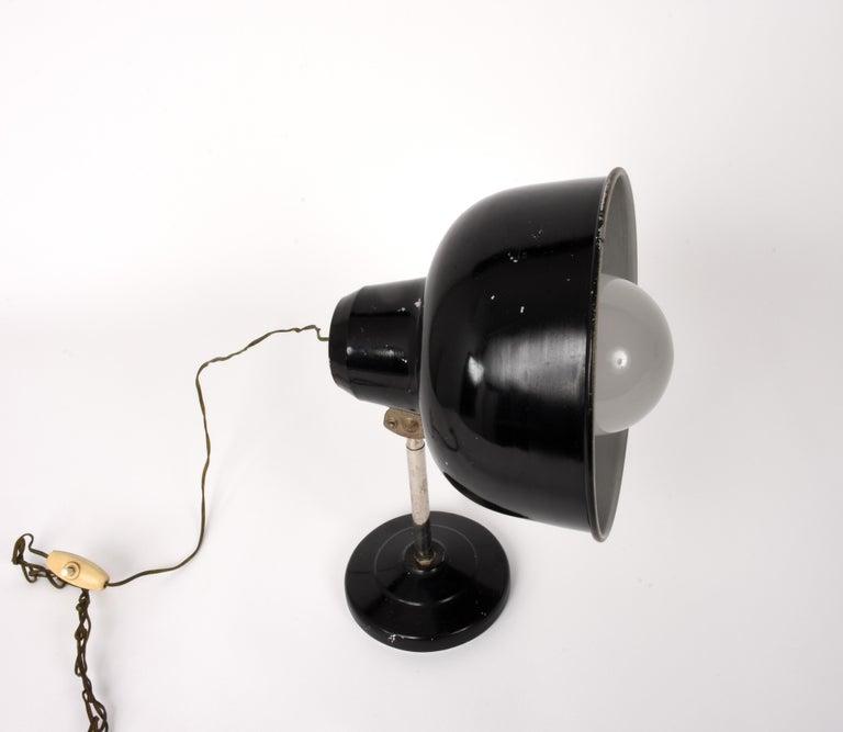 Industrial Black Enameled Metal Adjustable Italian Table Desk Lamp, 1940s For Sale 4