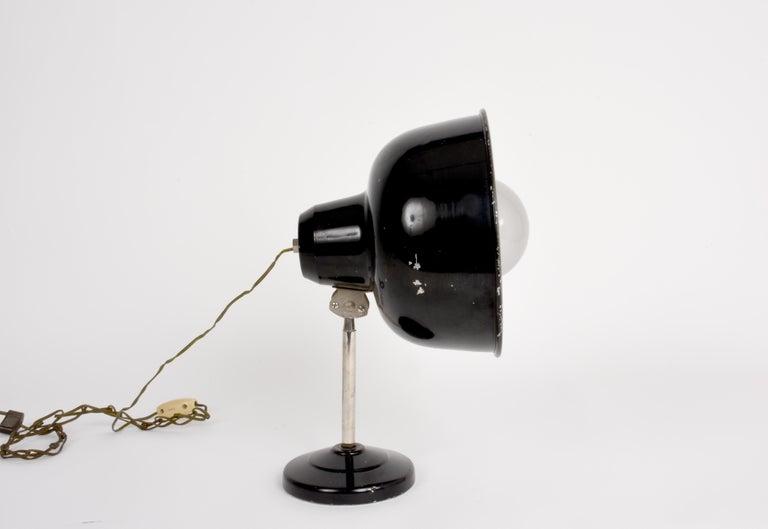 Industrial Black Enameled Metal Adjustable Italian Table Desk Lamp, 1940s For Sale 5