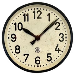 Industrial Black Factory Wall Clock From Chronotechna, 1950s