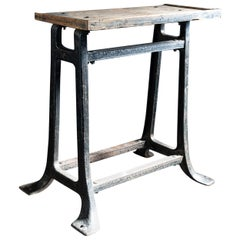 Industrial Black Wrought Iron and Pine Riveted Side Table, English