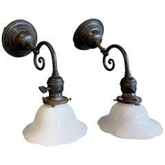 Industrial Blackened Nickel and Milk Glass Wall Sconce Lamps