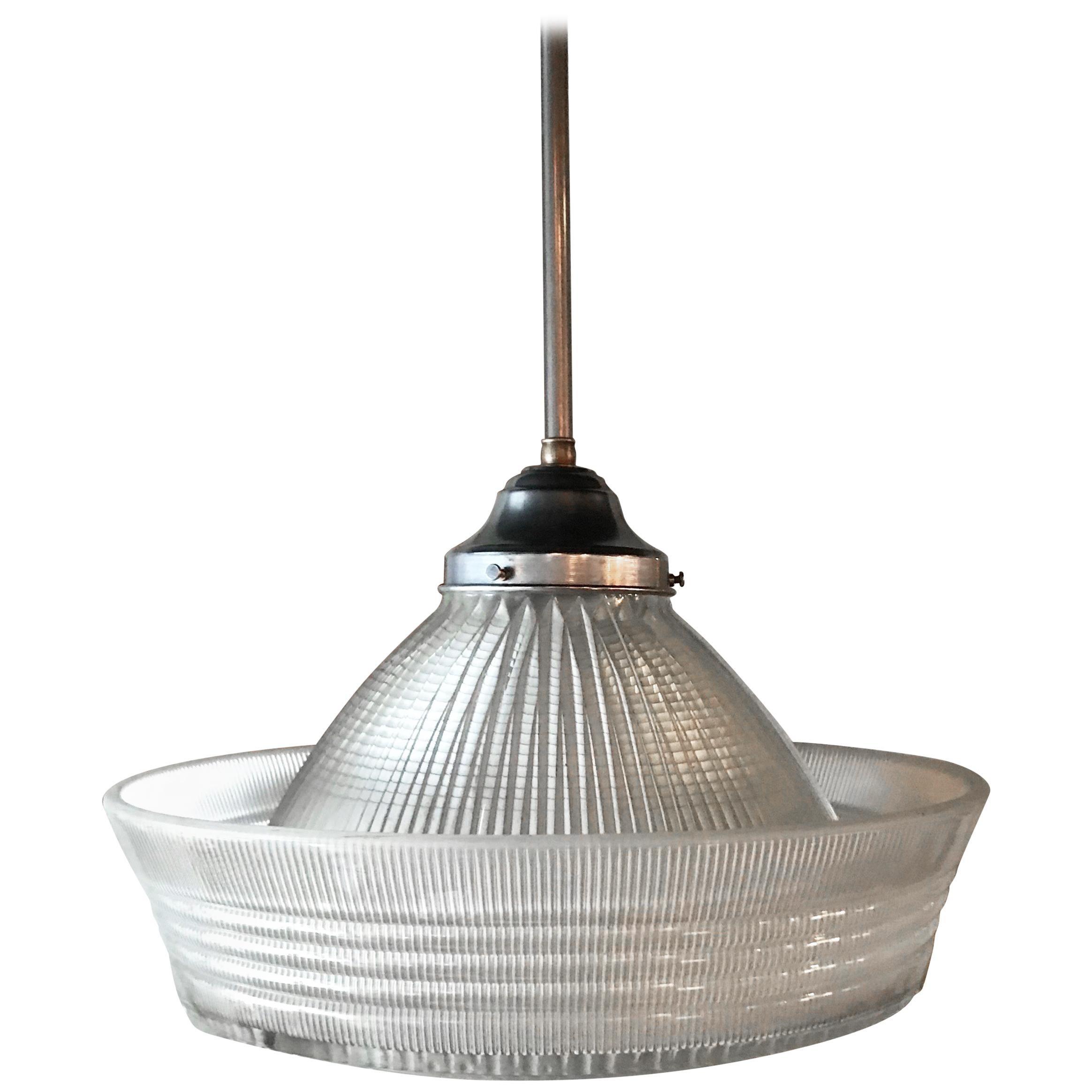 Industrial Brimmed Dome Prismatic Holophane Pendant Light