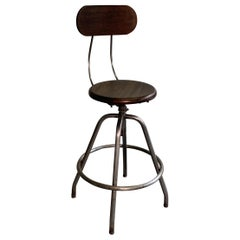 Industrial Brushed Steel And Maple Drafting Stool