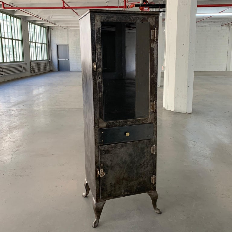 American Industrial Brushed Steel Apothecary Cabinet For Sale