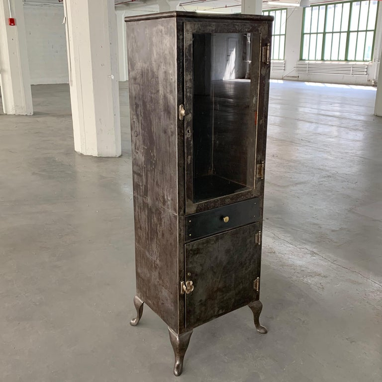 20th Century Industrial Brushed Steel Apothecary Cabinet For Sale