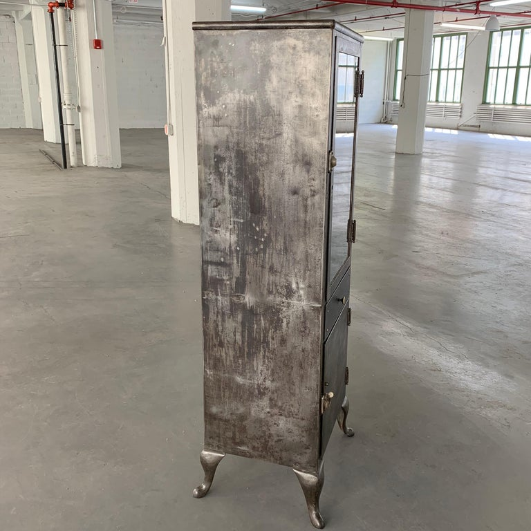 Industrial Brushed Steel Apothecary Cabinet In Good Condition For Sale In Brooklyn, NY