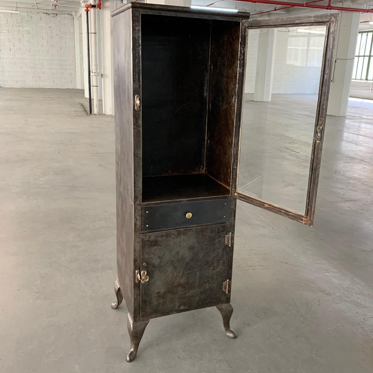 Industrial Brushed Steel Apothecary Cabinet For Sale 2