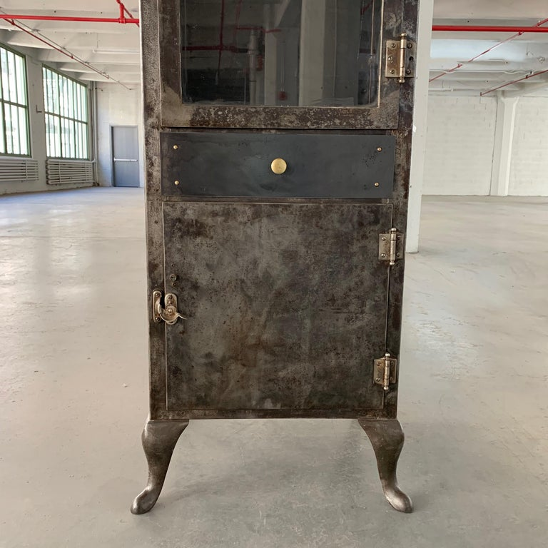 Industrial Brushed Steel Apothecary Cabinet For Sale 3