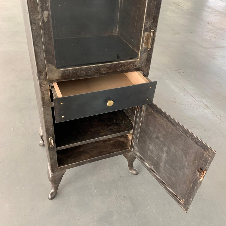 Industrial Brushed Steel Apothecary Cabinet For Sale 4