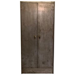 Industrial Brushed Steel Armoire Wardrobe Cabinet