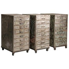 Industrial Brushed Steel Distressed Look Wheeled Filing 3 Cabinets with Drawers