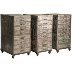 Industrial Brushed Steel Distressed Look Wheeled Filing Cabinets with Drawers