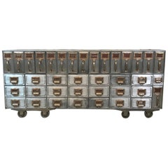 Industrial Brushed Steel File Storage Console