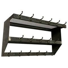 Industrial Brushed Steel Gymnasium Wall Mount Shelf Unit Coat Rack