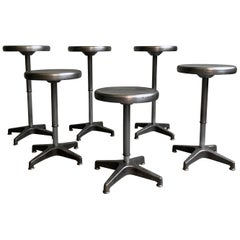 Industrial Brushed Steel Height Adjustable Swivel Stools