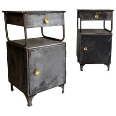 Industrial Brushed Steel Hospital Nightstand Cabinets
