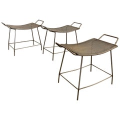 Industrial Brushed Steel Short Hospital Stools