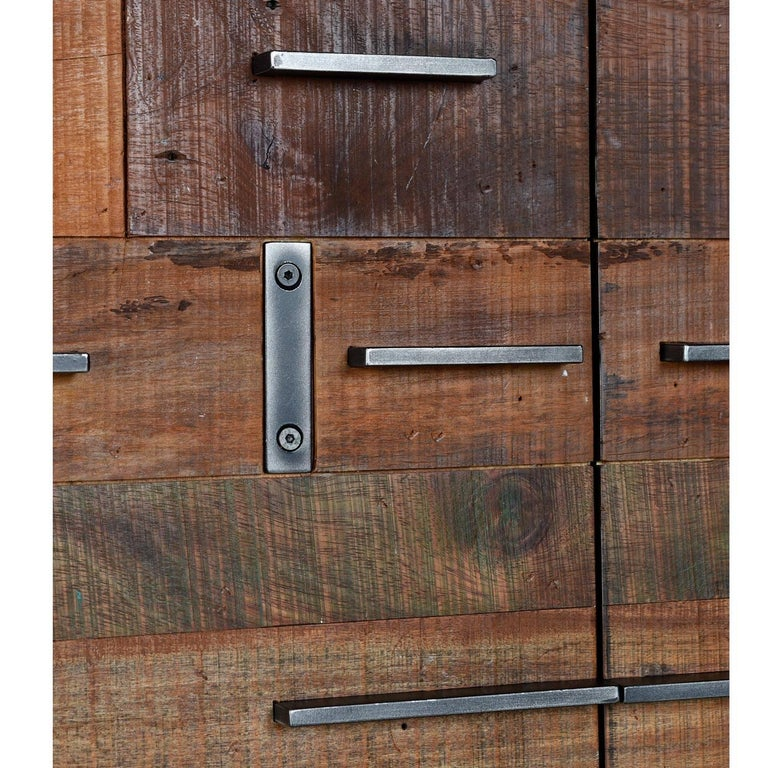 Vietnamese Brutalist Industrial Armoire Dresser Cabinet by Rochdale Spears For Sale