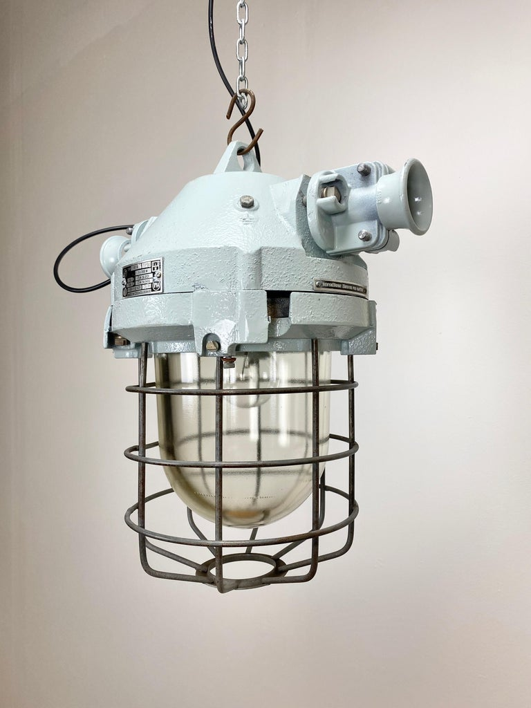 Czech Industrial Bunker Ceiling Light with Iron Cage, 1970s For Sale